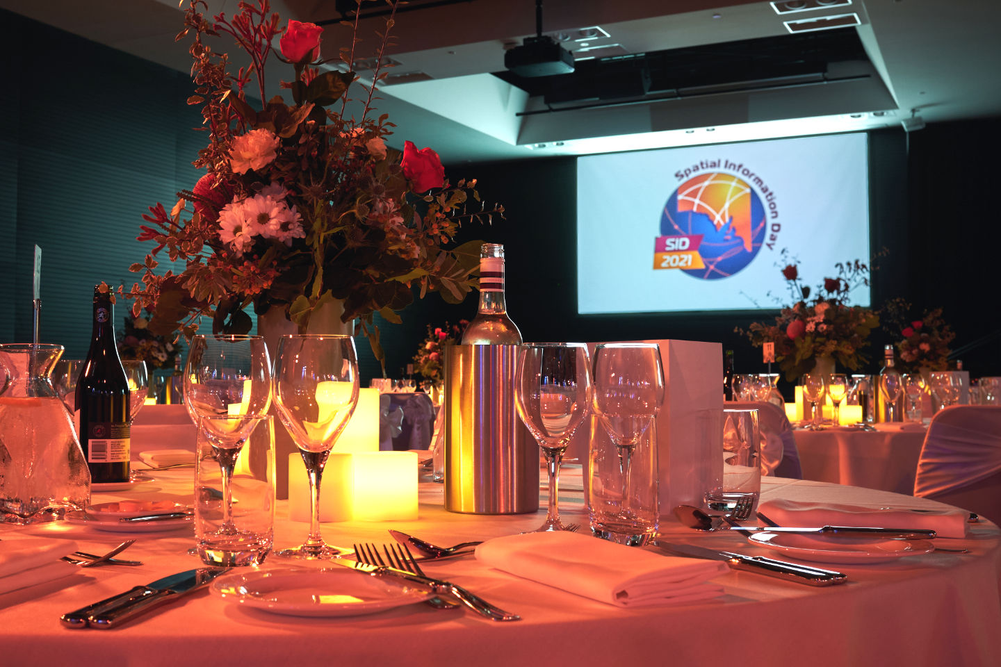 Photo of the dinner venue with table decorations
